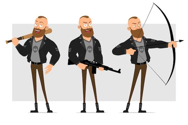 Karikatur flacher lustiger starker charakter bärtiger punkmann mit mohawk in der lederjacke. junge, der baseballschläger hält und mit bogen und gewehr schießt.