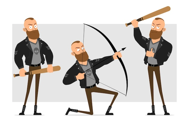 Karikatur flacher lustiger starker charakter bärtiger punkmann mit mohawk in der lederjacke. junge, der mit bogen schießt und hölzernen baseballschläger hält.