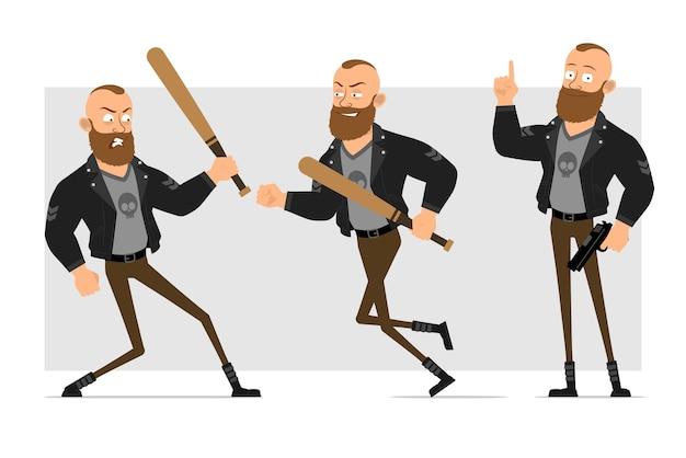 Karikatur flacher lustiger starker charakter bärtiger punkmann mit mohawk in der lederjacke. junge, der mit hölzernem baseballschläger und pistole kämpft.