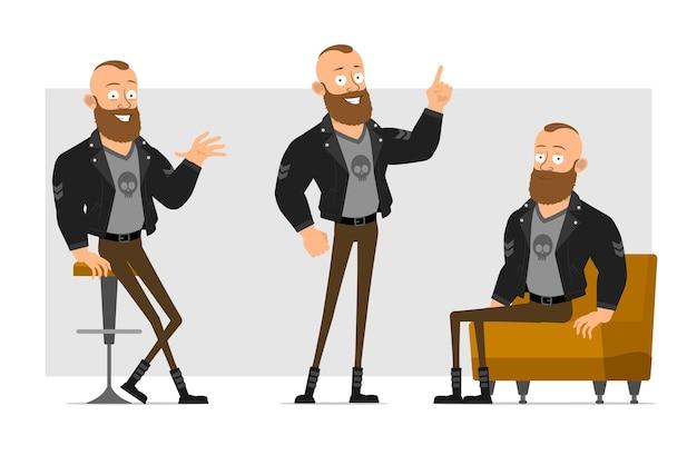 Karikatur flacher lustiger starker charakter bärtiger punkmann mit mohawk in der lederjacke. junge sitzt auf sofa und zeigt aufmerksamkeitsgeste.