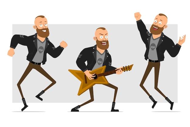 Karikatur flacher lustiger starker charakter bärtiger punkmann mit mohawk in der lederjacke. junge springt, tanzt und spielt rock auf der gitarre.