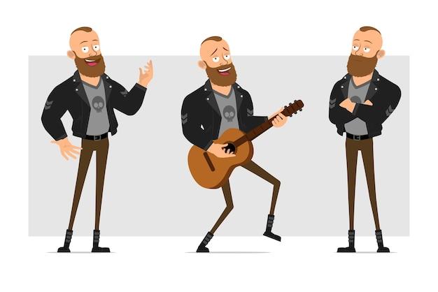 Karikatur flacher lustiger starker charakter bärtiger punkmann mit mohawk in der lederjacke. junge stehend, lied singend und auf gitarre spielend.