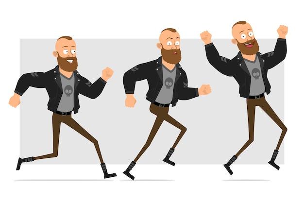 Karikatur flacher lustiger starker charakter bärtiger punkmann mit mohawk in der lederjacke. lächelnder junge, der geht, läuft und springt.