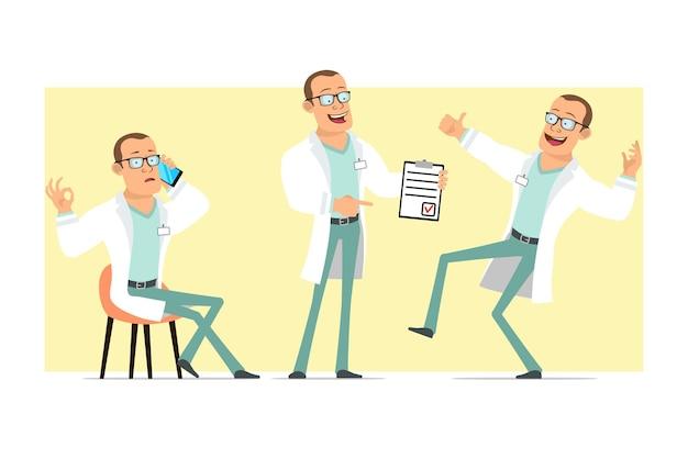 Karikatur flacher lustiger starker doktormanncharakter in der weißen uniform und in den gläsern. junge, der am telefon spricht und zeigt, um liste zu tun. bereit für animation. auf gelbem hintergrund isoliert. einstellen.