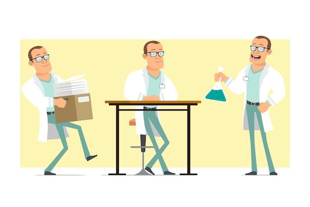 Karikatur flacher lustiger starker doktormanncharakter in der weißen uniform und in den gläsern. junge, der kasten mit papieren trägt und chemischen kolben hält. bereit für animation. auf gelbem hintergrund isoliert. einstellen.