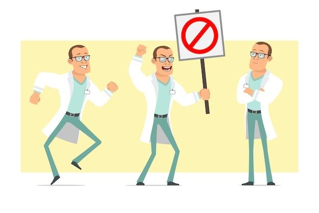 Karikatur flacher lustiger starker doktormanncharakter in der weißen uniform und in den gläsern. junge, der kein eintrittsstoppschild aufwirft und hält. bereit für animation. auf gelbem hintergrund isoliert. einstellen.