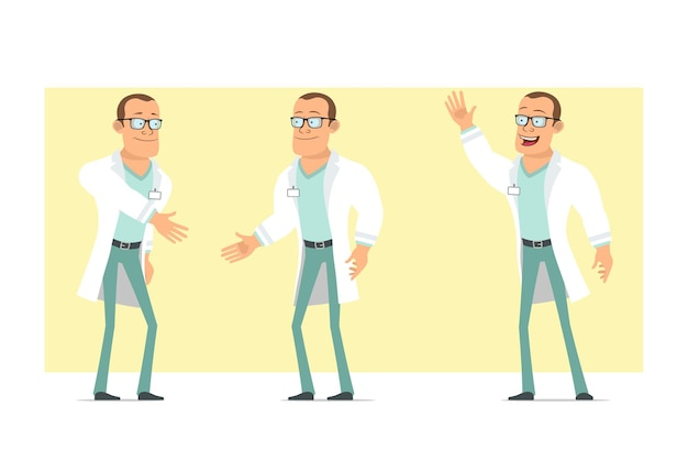 Karikatur flacher lustiger starker doktormanncharakter in der weißen uniform und in den gläsern. junge händeschütteln und willkommensgeste zeigen. bereit für animation. auf gelbem hintergrund isoliert. einstellen.