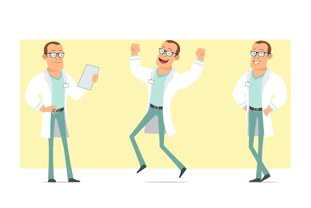Karikatur flacher lustiger starker doktormanncharakter in der weißen uniform und in den gläsern. junge springt, posiert und liest dokument. bereit für animation. auf gelbem hintergrund isoliert. einstellen.