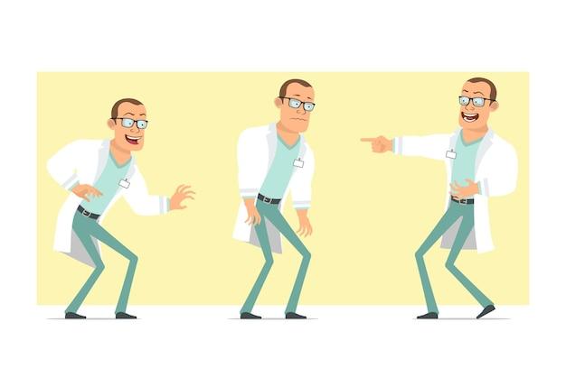 Karikatur flacher lustiger starker doktormanncharakter in der weißen uniform und in den gläsern. junge traurig, müde, lachend und verängstigt. bereit für animation. auf gelbem hintergrund isoliert. einstellen.