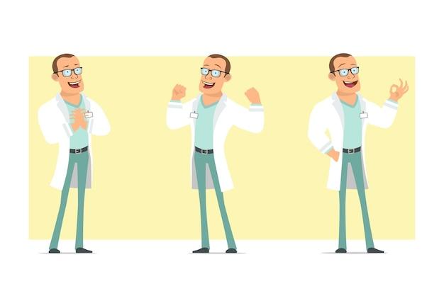 Karikatur flacher lustiger starker doktormanncharakter in der weißen uniform und in den gläsern. junge zeigt muskeln und okay geste. bereit für animation. auf gelbem hintergrund isoliert. einstellen.