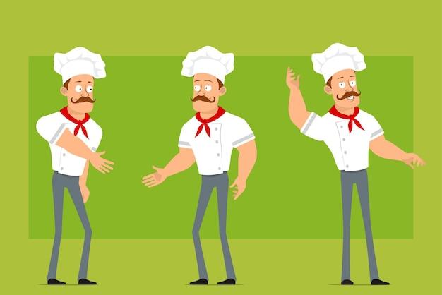 Karikatur flacher lustiger starker kochkochmanncharakter in der weißen uniform und im bäckerhut. junge händeschütteln und hallo geste zeigen.