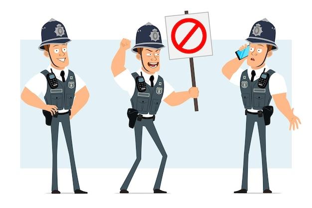 Karikatur flacher lustiger starker polizistcharakter in kugelsicherer weste mit funkgerät. junge, der am telefon spricht und kein eintrittsstoppschild hält.