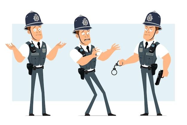 Karikatur flacher lustiger starker polizistcharakter in kugelsicherer weste mit funkgerät. junge erschrocken, pistole und handschellen haltend.