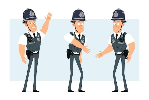 Karikatur flacher lustiger starker polizistcharakter in kugelsicherer weste mit funkgerät. junge händeschütteln und willkommensgeste zeigen.
