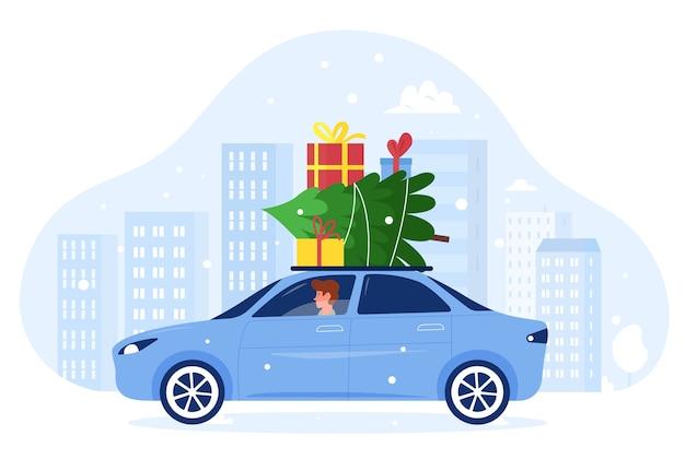 Karikatur flacher mann charakter fahrendes auto mit weihnachten präsentiert geschenke und tannenbaum