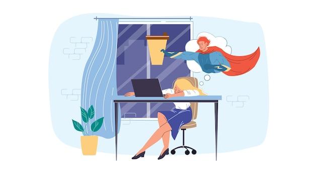 Karikatur flacher mitarbeitercharakter bei der arbeitsstressszene