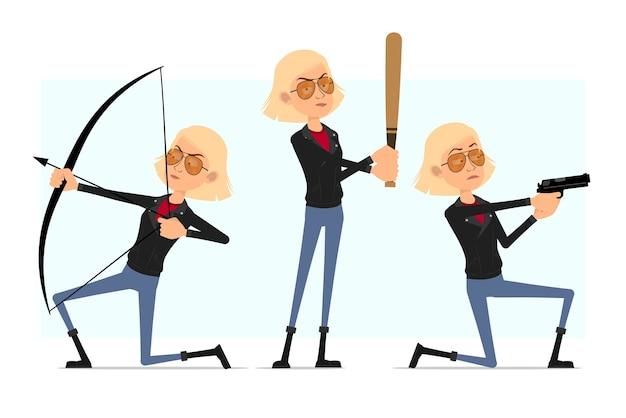 Karikatur flacher rock'n'roll-mädchencharakter in der lederjacke. blondes mädchen, das mit pistole und bogen schießt und mit baseballschläger steht.