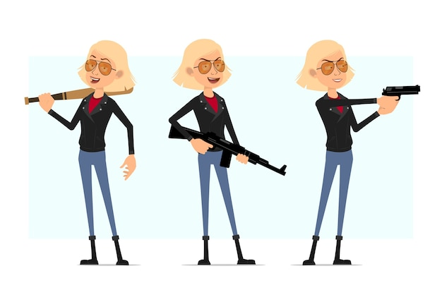 Karikatur flacher rock'n'roll-mädchencharakter in der lederjacke. blondes mädchen, das mit pistole und gewehr schießt und mit baseballschläger steht.