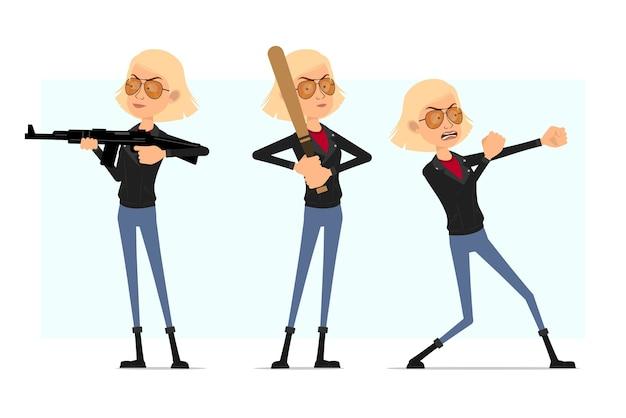 Karikatur flacher rock'n'roll-mädchencharakter in der lederjacke. blondes wütendes mädchen, das mit gewehr schießt und mit baseballschläger steht.