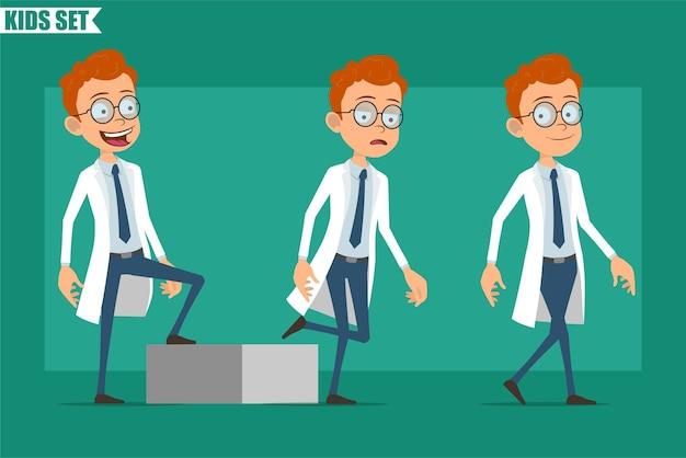 Karikatur flacher rothaariger kleiner arzt- oder wissenschaftlerjungencharakter in uniform. bereit für animation. erfolgreiches müdes kind, das zu seinem ziel geht
