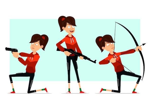 Karikatur flacher sportmädchencharakter großer satz