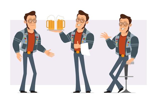 Karikatur flacher starker disco-mann in sonnenbrille und jeansjacke. junge ruht sich aus, hält bier und schüttelt hände.