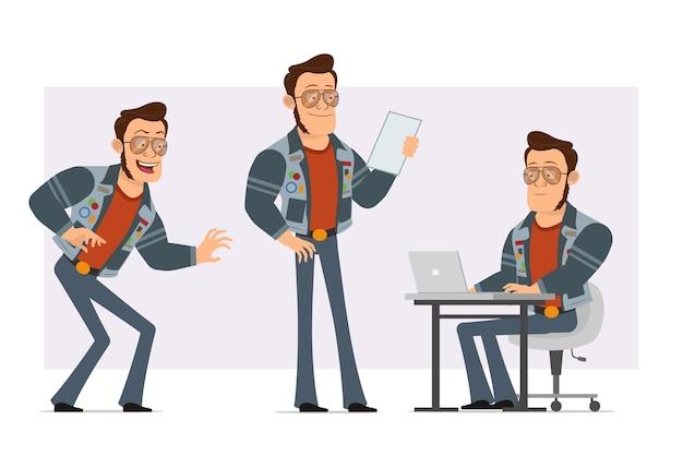 Karikatur flacher starker disco-mann in sonnenbrille und jeansjacke. junge schleicht, liest notiz und arbeitet am laptop.
