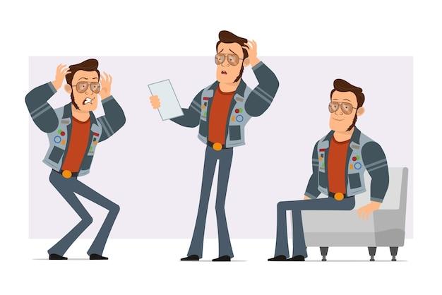 Karikatur flacher starker disco-mann in sonnenbrille und jeansjacke. junge wütend, papiernotiz lesend und auf sofa prüfend.