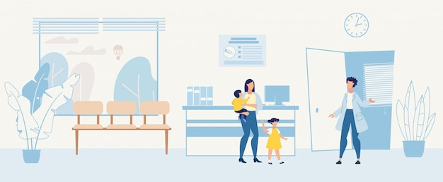 Karikatur-frau mit den kindern, die kinderarzt besuchen