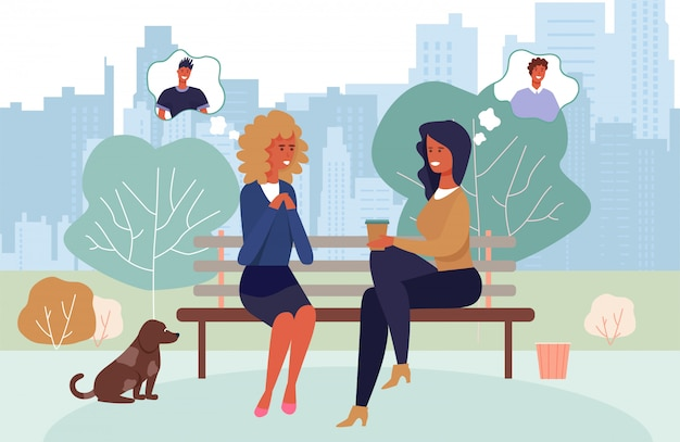 Karikatur-frauen, die kaffee trinken und männer besprechen