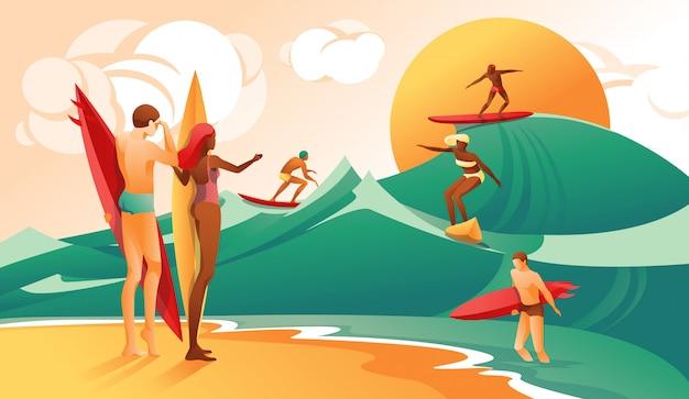 Karikatur-frauen-mann mit surfbrett-leute-brandungs-welle