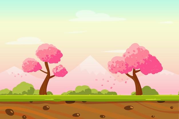 Karikatur-frühlings-japan-landschaftshintergrund