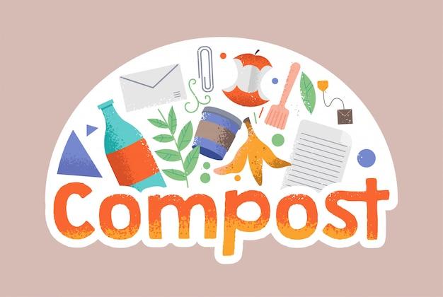 Karikatur-gekritzelartillustration im hipster-stil mit verschiedenen abfällen herum. kompost, kein abfall, umweltfreundlich, rettet den planeten vor müll, wiederverwendeten fahrradkonzepten. förderung des umweltbewusstseins