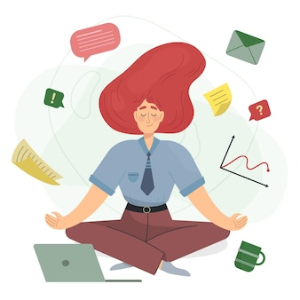 Karikatur-geschäftsfrau, die meditiert