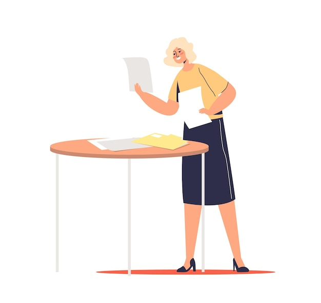 Karikatur geschäftsfrau liest dokumente und geschäftspapiere glücklich lächelnd. weibliche sekretärin oder managerin mit büropapierkonzept.