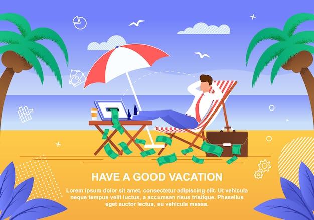 Karikatur-geschäftsmann in der klage, die auf sunny beach sich entspannt