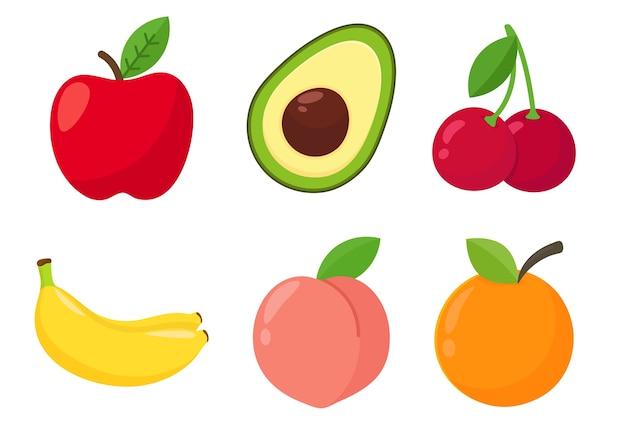 Karikatur gesunde fruchtorangen, pfirsiche, avocado und erdbeeren lokalisiert auf weißem hintergrund
