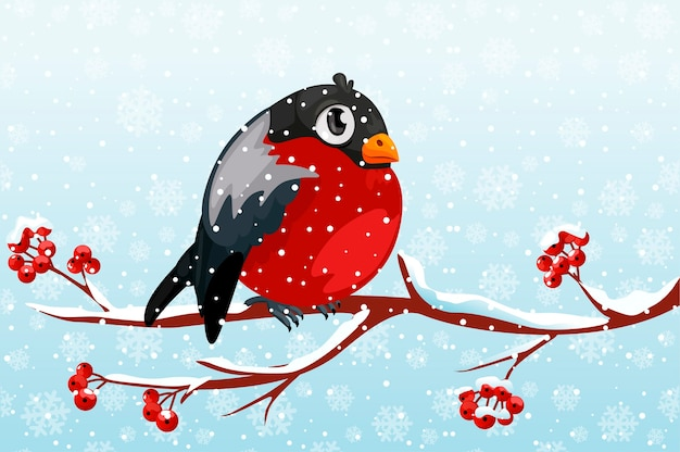 Karikatur-gimpel auf zweig rowan baum unter dem schneefall.