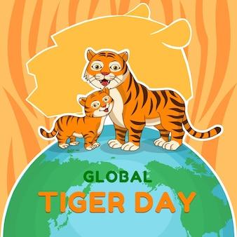 Karikatur globaler tigertag illustration