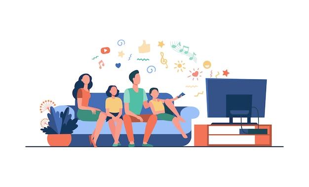 Karikatur glückliche familie, die zusammen fernsehen sieht