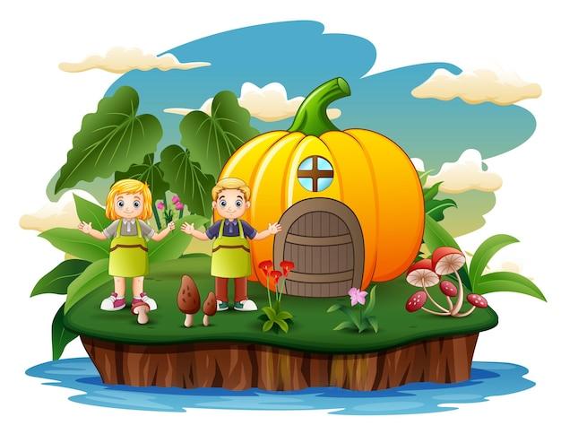Karikatur glückliche kinder mit kürbishaus auf der insel