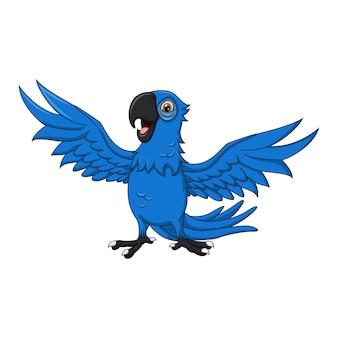 Karikatur glücklicher blauer ara
