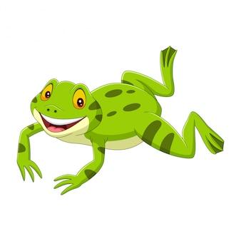 Karikatur glücklicher grüner frosch, der springt