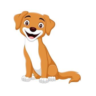 Karikatur glücklicher hund auf weiß