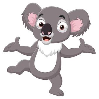 Karikatur glücklicher koala auf weißem hintergrund