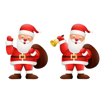 Karikatur glücklicher weihnachtsmann, der ein geschenk hält