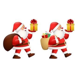 Karikatur glücklicher weihnachtsmann, der ein geschenk trägt