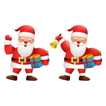 Karikatur glücklicher weihnachtsmann, der geschenkbox und glocke hält