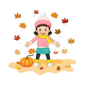 Karikatur glückliches kleines mädchen mit kürbis und herbstlaub