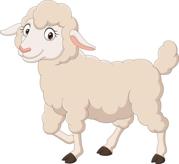 Karikatur glückliches lamm lokalisiert auf weißem hintergrund